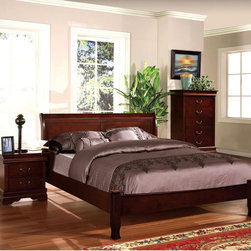 Furniture of America - Furniture of America Mayday Cherry Paneled Platform Bed - Uniquely designed to offer the comforts of a platform bed,this piece also provides a charming paneled headboard design that accentuates the lovely wood construction. The entire piece is lifted upon hourglass-like legs while finished in a warm cherry.