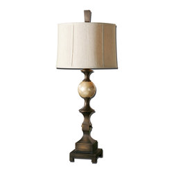 Uttermost - Tusciano Bronze Table Lamp - Hand Rubbed Dark Bronze Finish Accented With A Lightly Stained Capiz Shell Ball. The Round Semi Drum Shade Is A Khaki Linen Fabric With Natural Slubbing. Number Of Lights: 1, Shade: Round Semi Drum Shade, Shade Size: Height: 11, Top: 15w X 15d, Bottom: 16w X 16d, Voltage: 110, Wattage: 150w, Bulbs Included: No