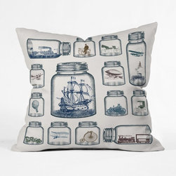 In Jars Pillow Cover - Vintage travel adorns this cheeky pillow cover with old-fashioned goodness. Zeppelins, penny farthings, carriages, and biplanes in old-fashioned sepia and indigo tones zip across the soft polyester surface inside classic mason jars like Grandma used to keep.