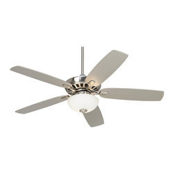 """Casa Vieja - Contemporary 52"""" Casa Vieja® Journey Brushed Nickel Ceiling Fan - This simple stylish ceiling fan comes in a clean brushed nickel finish with matching blades. Complementary light kit features white painted opal glass and includes an energy efficient CFL bulb. This great looking fan includes a remote control with on/off light function for easy operation. A smart addition to living rooms kitchens and more. 5"""" downrod included.  Brushed nickel finish motor.  Five matching blades  52"""" blade span.   12 degree blade pitch.   Remote control included with on/off light function.  White painted opal glass light kit.   Includes two 13 watt CFL bulb.   Includes 5"""" downrod.   Fan height is 13 1/4"""" from blade to ceiling (with 5"""" downrod).   Fan height is 19 1/4"""" from ceiling to bottom of light kit (with 5"""" downrod).  Canopy is 3 1/2"""" high and 5 1/4"""" wide."""