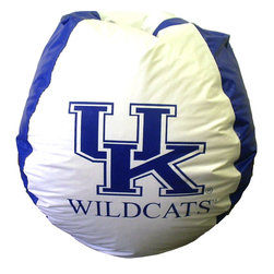 """Bean Bag Boys - Kentucky Wildcats Bean Bag Chair - Show support for your favorite team by even sitting in the right kind of chair; this vinyl bean bag features the University of Kentucky Wildcats logo and is very easy to clean. It's ten pound weight makes it easy to carry, so you can even take it into the E-Rupp-tion zone. * Durable vinyl constructionBean bag features logo for Kentucky Wildcats 30"""" X 30"""" 36"""". 112"""" Circumference10 lbs."""