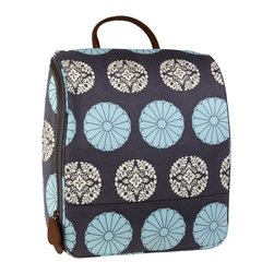 Amy Butler for Kalencom - Amy Butler Sweet Traveler Bag, Pressed Flowers Sky - Our Amy Butler Sweet Traveler Ultimate Toiletry Bag in Pressed Flowers Sky is a clean, modernly refined exterior that opens up to reveal well-placed highly organized pockets to hold your bath and beauty supplies. The top pouches attach with Velcro for easy access, and the stow-away hook helps to keep your grooming elevated. All organic cotton with zipper closure, multiple pockets, leather loop handle, steel hook, and coordinated contrast lining.