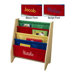 KidKraft - KidKraft 4 Shelf Primary Colored Sling Bookshelf with Personalization - W14226-1 - Shop for Childrens Bookcases from Hayneedle.com! Cleverly organize your child's library with the KidKraft 4-Shelf Sling Bookshelf - Primary Colors. The sling-style canvas shelves display the front covers of books instead of the spines so it's easier for young readers to choose the perfect picture book for story time. The engaging brightly colored shelves accommodate books of almost any size and are easy for kids to use. The sturdy wide MDF frame won't tip and is the perfect height for small children.About KidKraftKidKraft is a leading creator manufacturer and distributor of children's furniture toy gift and room accessory items. KidKraft's headquarters in Dallas Texas serves as the nerve center for the company's design operations and distribution networks. With the company mission emphasizing quality design dependability and competitive pricing KidKraft has consistently experienced double-digit growth. It's a name parents can trust for high-quality safe innovative children's toys and furniture.