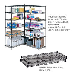"""Safco - Industrial Extra Shelf Pack, 36 x 18"""" - Black - Always have enough. Extra shelves for Model 5285 Industrial Wire Shelving. Strong welded wire construction for a 1250 lbs. capacity (with weight evenly distributed). Shelves adjust in 1"""" increments and attach to existing shelving in minutes without tools. Snap-together clips included. Available in Black or Metallic Gray powder coat finish. Sold in packs of two.; Features: Material: Steel; Color: Black; Finished Product Weight: 17 lbs.; Assembly Required: Yes; Tools Required: No; Limited Lifetime Warranty; Dimensions: 36""""W x 18""""D x 1 1/2""""H"""
