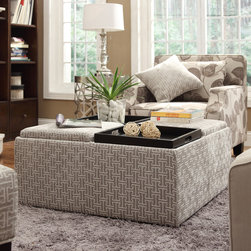 Inspire Q - INSPIRE Q Montrose Grey Link Storage Cocktail Ottoman - This Avenue Collection ottoman feature lids that come off to reveal spacious storage compartments and,for cocktail hour,the lids invert to form a four-section coffee table. This cocktail ottoman is the perfect accent piece to brighten any room.