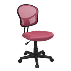 """Office Star Products - Mesh Task Chair in Pink - Mesh Task Chair in Pink; One Touch Pneumatic Seat Height Adjustment; 360 Swivel; Heavy Duty Nylon Base with Dual Wheel Carpet Casters; Dimensions: 17.75""""W x 22.5""""D x 33.25-38""""H"""