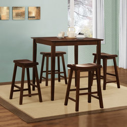 Homelegance - Homelegance Saddle Back 5-Piece Counter Height Dining Table Set - Warm Cherry Mu - Shop for Dining Sets from Hayneedle.com! Add the Homelegance Saddle Back 5-Piece Counter Height Dining Table Set - Warm Cherry to your room to create an instant gathering spot. This set includes a counter height table and four 24-inch tall saddle back stools. It's made of solid rubberwood and comes finished in warm cherry. The table has a classic design with tapered legs. The four stools stand on sturdy A-frames feature generous seats and include built-in footrests for comfort.About Homelegance Inc.Homelegance takes pride in offering only the highest quality home furnishings that incorporate innovative design at the best value. From dining sets to mirrors sofas and accessories Homelegance strives to provide customers with a wide breadth and depth of selection as well as the most complete and satisfying service available for their category. Homelegance distribution centers are conveniently located throughout the United States and Canada.