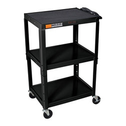 H. Wilson - Adjustable Steel AV Cart w Casters in Black - Three shelves. Three outlet electrical assembly with 15 ft. cord. Non-slip rubber mat for top shelf. Arc-welded shelves. Top and middle shelves holes for cable management. Four 4 in. full swivel ball bearing casters two with locking brake. 0.25 in. retaining lip around each shelf. Weight capacity: Up to 200 lbs.. 24 in. L x 18 in. W x 24 in. - 42 in. H. Warranty. Assembly Instructions
