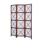 Furnituremaxx - 3-Panel Screen Room Divider, Walnut - If you have an open space in your home, or especially if you live in a studio-styled dwelling, the 3-Panel Screen Room Divider - walnut is a perfect way to separate a room. Create a dining room, or instantly make a reading area in a corner. However you use it, this stylish 3-panel divider is an easy solution to your making the most out of your living space.
