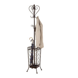 Adarn Inc. - Subtle Metal Finish Coat Hat Rack Hanger Hall Tree Lattice Umbrella Holder Stand - This charming metal coat rack features a spacious umbrella holder and lattice accents on the base. Two levels of hook placement double the storage capacity of this metal hall tree for a functional addition to your hall or entryway. Top with coats and stow your umbrella in the base for a clean, uncluttered look that keeps everything in its place. A subtle metal finish fits neatly with existing decor.