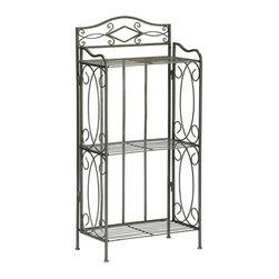 Holly & Martin - Holly & Martin Isabella 3-Tier Rack - Decorative diamond shaped mirror accent. Three spacious shelves. Pewter gun metal finish. Assembly Required. 19.25 in. W x 10.5 in. D x 39.75 in. H (14 lbs.). Assembly instructionsDetailed scroll insets give life to this transitional towel shelf. Making use of wasted floor space will bring plenty of organization to your bathroom. The three shelves are perfect for toiletries, towels and other decorative items. The frame is constructed of a square tube steel for durability and powder coated in a pewter / gun metal finish that works well with all color schemes. Providing the final accent is a lovely diamond shaped mirror above the shelves that adds a sparkle and glimmer to your bathroom.