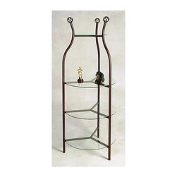 Grace Collection - Round Display Etagere (Gun Metal) - Finish: Gun MetalFour 0.25 in. thick tempered safety glass shelves. Can be used as island store display. Made from wrought iron. Spacing between top shelf and second shelf: 23 in.. Spacing between bottom three shelves: 14 in.. Top shelf: 15 in. Dia.. Bottom three shelves: 24 in. Dia.. Overall: 27 in. Dia. x 76 in. H (65 lbs.)