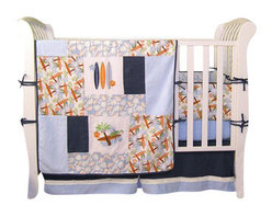 Trend Lab - Trend Lab Surf's Up 3-Piece Crib Bedding Set - Surf's Up dude! Printed and embroidered surf boards on waves with lizards, leaves, and palm trees take your nursery on a trip to the tropics. Terry cloth, denim, and mini-waffle pique fabrics are combined to create this perfect beach theme.