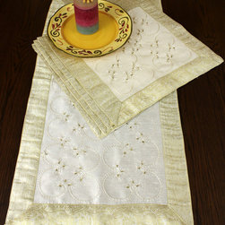 """Beautiful Night Table Set - Luxurious """"Beige"""" 5-Piece Night Table Set. Hand Embroidered design made in India. Dupion silk fabric. Holidays Decor idea. Perfect to embellish your night table, dresser, lamp stand or any other furniture."""