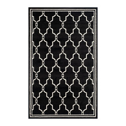 Safavieh - Chelsea Indoor/Outdoor Rug, Anthracite / Ivory 9' X 12' - Construction Method: Power Loomed. Country of Origin: Turkey. Care Instructions: Easy To Clean. Just Rinse With A Garden Hose. Coordinate indoor and outdoor living spaces with fashion-right Amherst all-weather rugs by Safavieh. Power loomed of long-wearing polypropylene, beautiful cut pile Amherst rugs are made to stand up to tough outdoor conditions, but designed with the aesthetics of indoor rugs. Use these family-friendly geometric designs on patios, in kitchens, busy family rooms and other high traffic rooms.