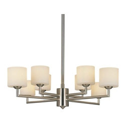 George Kovacs - Mini Chandelier P8078 by George Kovacs - The George Kovacs Mini Chandelier P8078 is a little fixture with a lot of style. Sleek yet soft, it works well in both transitional and contemporary settings. The cased and etched opal glass shades are arranged in pairs around the central column, creating a four-armed effect out of the actual eight. The uniquely designed frame comes in a brushed nickel finish.