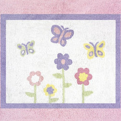 Sweet Jojo Designs - Butterfly Pink & Lavender Accent Floor Rug by Sweet Jojo Designs - The Butterfly Pink & Lavender Accent Floor Rug by Sweet Jojo Designs, along with the  bedding accessories.