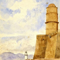 Consigned Coastal Castle, C. 1910, Painting - Original antique watercolor painting of a majestic fortress set upon a sandy shoreline, circa 1910.