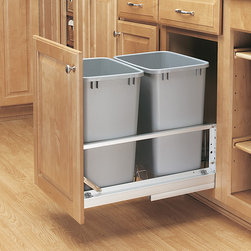 None - Premiere Double 35-quart Silver Pull-out Waste Containers - These useful pull-out garbage cans from Premiere Double each hold 35-quart of trash. The Rev-A-Shelf kit is easily installed,and includes a rear compartment for extra storage,with a door mount kit,and is fabricated from aluminum and plastic.