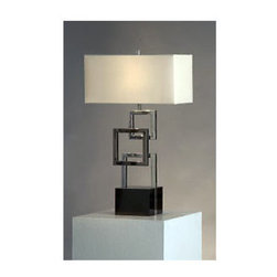 Nova Lighting - Nova Lighting 11097 30.75 Inch Table Lamp with White Linen Shade from the Cuadro - 30.75 Inch Contemporary / Modern Table Lamp with White Linen Shade from the Cuadros CollectionFeatures: