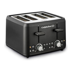Calphalon 4 Slot Toaster - Black - The Calphalon 4 Slot Toaster makes breakfast a snap. The extra-wide slots accommodate bagels, English muffins, and even thick slices of artisan breads. The Defrost setting is ideal for frozen waffles and toaster pastries. The Bagel setting toasts bagels perfectly on the inside. Opti-Heat system ensures accurate temperature control and even heat delivery. Dual controls for each set of slots for separate shade selection. Designed with sleek, cool-touch sides, front and back, its a great choice for your busy kitchen.
