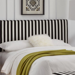 Skyline Furniture Canopy Stripe Upholstered Headboard With Welt - This headboard definitely stands out in a bedroom when paired with simple, solid bedding.