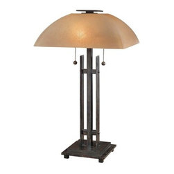 Ambience - Ambience AM 10352 Wrought Iron Accent Table Lamp from the Linear Collection - Linear Collection:  Table LampGreat Accent LampWrought Iron ThemedIron Oxide FinishRequired:  2-60W BulbsOn-Off SwitchComplimentary Lighting:  Place with other items within the Linear Collection