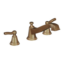 """Moen - Moen T923AZ Antique Bronze Roman Tub Trim 8""""-16"""" Two Lever Handles, ADA - Moen T923AZ is part of the Rothbury bath collection. Moen T923AZ has an Antique Bronze finish. Moen T923AZ is a roman tub trim 3-hole 8"""" - 16"""" installation. Roman Tub faucet with 5.863"""" high and 8.141"""" long low-arc spout for conventional styling. Moen T923AZ Roman Tub trim fits Moen MPact common valve system. Valve sold separately. Moen T923AZ is approved by ADA. Antique Bronze is an exclusive finish from Moen and provides style and durability. Moen T923AZ metal lever handle meets all requirements ofADA ICC/ANSI A117.1 and CSA B-125, ASME A112.18.1M. Lifetime Limited Warranty and 5 Year commercial"""