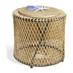 Interlude - Riviera Side Table - The Riviera Side Table is an exotic hand crafted table in iron, wood, and jute.