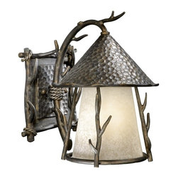 Vaxcel Lighting - Vaxcel Lighting Berkeley Woodland Traditional Outdoor Wall Sconce X-AA090DWO-DW - Look no further than this Vaxcel Lighting Berkeley Woodland Traditional Outdoor Wall Sconce when you need something charming. Notice the theme of tree branches in an autumn patina finish, hammered back plate and hood and panels of French scavo glass. It's a wonderful piece that's sure to stand out in any home.
