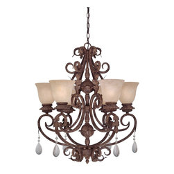 Designers Fountain - Designers Fountain San Mateo Energy Efficient Traditional Chandelier X-OA-60419S - Softly scrolled ironwork combined with acanthus leaf details and beaded crystal drops offer Old World charm.