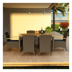 Arbor 7-Piece Modern Outdoor Dining Set, Charcoal Cushions