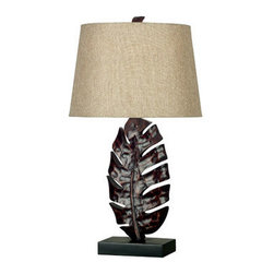 "Kenroy Home - Kenroy Home 21050 26.25"" Single Light Palm Frond Shaped Table Lamp with Tapered - Tropical / Safari 26.25"" Single Light Palm Frond Shaped Table Lamp with Tapered Drum Shade from the Frond CollectionA richly tropical design, the large leaf that forms the base of this lamp is finished in a Mottled Bronze and topped with a Gold Linen shade.Features:"