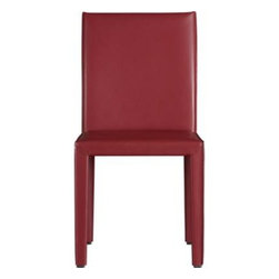 Folio Cherry Bonded Leather Side Chair - The familiar lines of classic Italian design reinvented with comfort and value in mind. At a glance, you notice the generous, clean Parsons-style lines and fine quality leather in vibrant cherry. Up close, it's the small details that make the big difference: solid welded steel base, full wrapping in aniline-dyed leather with mitered corners, and seat and leg with full flange seaming. A thick, sculpted leg supports the comfortable, foam-cushioned seat.