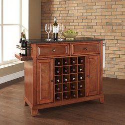 """Crosley - Newport Kitchen Island with Black Granite Top - The cabinet features a 20-bottle wine rack and side-mounted 3-bottle wine valet and the top provides ample surface space for presentation of your wine and cheese alike. Raised panel doors conceal the adjustable inner shelving and two sliding drawers provide several options for storage. Features: -Newport collection. -Solid hardwood and veneer construction. -Solid granite top. -Hand rubbed. -Beautiful raised panel doors. -Removable wine storage panels reveal additional open storage. -Adjustable shelf inside cabinet. -Adjustable levelers on legs. -Side mounted 3 bottle wine service. Dimensions: -32.5"""" H x 48"""" W x 18"""" D, 88.19 lbs."""