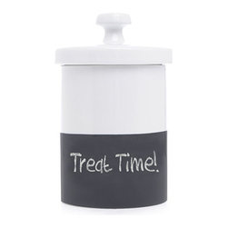 Waggo - Chalkboard Dog Treat Jar - Your pup will want this treat jar chalk-full of goodies! Our Chalkboard Dog Treat Jars are a fun addition to any kitchen or living room. These hand-dipped ceramic jars have a chalkboard bottom- perfect for writing your pup's name or the menu for the evening. Comes with a three pack of chalk.