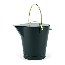 Achla - Metal Ash Bucket w Brass Handles - This metal ash bucket is a great accessory for your living room!  Featuring a sturdy, metal frame construction accented with a black powdercoat finish, this bucket's lustrous brass handles give an elegant touch! * Metal constructionBlack powdercoat finish12 in. Dia x 13 in. H