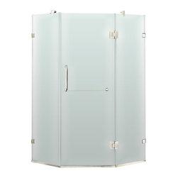 "VIGO Industries - VIGO 36 x 36 Frameless Neo-Angle 3/8"" Shower, Frosted/Chrome, Left Door - Both dramatic and space-saving, the VIGO frameless neo-angle shower enclosure creates a beautiful focal point for your bathroom."