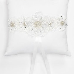 Andrea's Beau Ring Bearer Pillow - Elegant gossamer flowers with sparkling beaded accents add an ethereal glow to a matte satin ring bearer pillow. A back satin ribbon strap helps little hands carry with ease. Color(s): ivory, white. Brand: ANDREA'S BEAU. Style Name: Andrea's Beau Ring Bearer Pillow. Style Number: 555577.