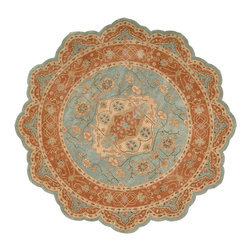 Nourison - Nourison Heritage Hall HE16 6' x 6' Aqua Area Rug 88998 - Connoisseurs of the unusual will enjoy this unique design in its marvelous palette of aqua and brick, with ivory accents. These rich colors sing out the splendor of traditional motifs and give this remarkable rug the appearance of a medieval treasure.