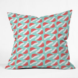 DENY Designs - DENY Designs Allyson Johnson Santa Throw Pillow - Wanna transform a serious room into a fun, inviting space? Looking to complete a room full of solids with a unique print? Need to add a pop of color to your dull, lackluster space? Accomplish all of the above with one simple, yet powerful home accessory we like to call the DENY Throw Pillow! Available in four sizes, our throw pillow is made from a medium weight woven polyester with a hidden zipper and removable bun insert.