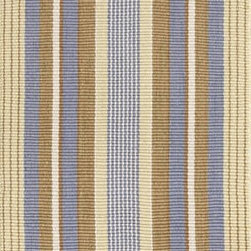 Dash & Albert - Dash & Albert Cricket Indoor/Outdoor Rug by Bunny Williams - Designer Bunny Williams collaborates with Annie Selke to create an irresistible line of transitional area rugs for your everyday home. Dash & Albert Cricket Indoor/Outdoor Rug by Bunny Williams rugs are hoseable, srcubable and made from recycled materials. Traditional stripes in blue, brown and yellow. These indoor/outdoor rugs are so soft and durable that you can use them in any room inside or outside on a patio or deck