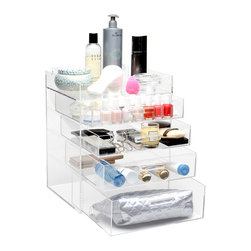 GLAMbox - Glamluxe Makeup Box, Full Lid - The GLAMbox Makeup Beauty Organizer and Display is a must-have for makeup, skincare, and/or any beauty product. This sleek design provides a luxurious way to stay organized, minimize clutter, and simplify your routine. This organizer is the FULL lid version, this version closes and opens all the way.  This gives you the option of keeping the dust out and lid closed OR keep open at all times in order to have easy access to your daily products. You can get creative and organize your GLAMbox your own way. It's a wonderful way to see everything you have so that none of your products are forgotten!