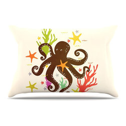 "Kess InHouse - Strawberringo ""Friends Around the Sea"" Octopus Tan Pillow Case, King, 36""x20"" - This pillowcase, is just as bunny soft as the Kess InHouse duvet. It's made of microfiber velvety fleece. This machine washable fleece pillow case is the perfect accent to any duvet. Be your Bed's Curator."