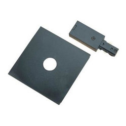 Hampton Bay Black Linear Live-End Power Feed with Cover Plate for Linear Track L
