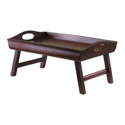 Winsome Wood - Sedona Bed Tray - Our Sedona Bed Tray is curve sided with a large handle and folding legs. This traditional bed tray is finished in warm antique walnut and is made from solid wood.