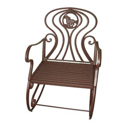Zeckos - Brown Metal Western Horse Theme Patio Rocking Chair - This beautiful metal patio rocking chair has a running horse design on the back of the chair, and has an antiqued brown painted finish. The chair measures 23 1/2 inches wide, 29 1/2 inches deep and 36 inches tall. It can be used indoors or outdoors, and makes a great gift.