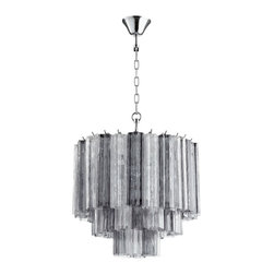 Cache- Chandelier - Modern Pendant in Clear and Smoke Glass Star Shaped Tubes.  Silver Hardware