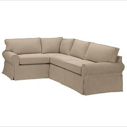 """PB Basic Right 3-Piece Small Sectional Slipcover, Twill Walnut - Designed exclusively for our PB Basic Sectional, these easy-care slipcovers have a casual drape, retain their smooth fit, and remove easily for cleaning. Select """"Living Room"""" in our {{link path='http://potterybarn.icovia.com/icovia.aspx' class='popup' width='900' height='700'}}Room Planner{{/link}} to select a configuration that's ideal for your space. This item can also be customized with your choice of over {{link path='pages/popups/fab_leather_popup.html' class='popup' width='720' height='800'}}80 custom fabrics and colors{{/link}}. For details and pricing on custom fabrics, please call us at 1.800.840.3658 or click Live Help. All slipcover fabrics are hand selected for softness, quality and durability. {{link path='pages/popups/sectionalsheet.html' class='popup' width='720' height='800'}}Left-arm or right-arm configuration{{/link}} is determined by the location of the arm on the love seat as you face the piece. This is a special-order item and ships directly from the manufacturer. To view our order and return policy, click on the Shipping Info tab above."""