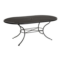 O.W. Lee Micro Mesh 42 x 72 in. Oval Patio Dining Table - Anyone who's ever had to spend time cleaning or moving a large, outdoor table should be able to easily see the benefits of the O.W. Lee Micro Mesh 42 x 72 in. Oval Patio Dining Table. If you haven't ever tried to wrangle a heavy, filthy outdoor table, then take a second when we tell you that there's no reason you ever should. This roomy table is crafted from light, rust-proof aluminum that's finished in your choice of classic shades. The legs are strong enough to support any meal, yet still slender enough to stay light and mobile. The mesh top provides a wide, flat surface that's easy to clean with a damp rag or even a garden hose. A central umbrella hole lets you add an umbrella for shade on those sunny days.Materials and construction: Only the highest quality materials are used in the production of O.W. Lee Company's furniture. Carbon steel, galvanized steel, and 6061 alloy aluminum is meticulously chosen for superior strength as well as rust and corrosion resistance. All materials are individually measured and precision cut to ensure a smooth, and accurate fit. Steel and aluminum pieces are bent into perfect shapes, then hand-forged with a hammer and anvil, a process unchanged since blacksmiths in the middle ages. For the optimum strength of each piece, a full-circumference weld is applied wherever metal components intersect. This type of weld works to eliminate the possibility of moisture making its way into tube interiors or in a crevasse. The full-circumference weld guards against rust and corrosion. Finally, all welds are ground and sanded to create a seamless transition from one component to another. Each frame is blasted with tiny steel particles to remove dirt and oil from the manufacturing process, which is then followed by a 5-step wash and chemical treatment, resulting in the best possible surface for the final finish. A hand-applied zinc-rich epoxy primer is used to create a protective undercoat against oxidation. This prohibits rust from spreading and helps protect the final finish. Finally, a durable polyurethane top coating is hand-applied, and oven-cured to ensure a long lasting finish. About O.W. Lee Company An American family tradition, O.W. Lee Company has been dedicated to the design and production of fine, handcrafted casual furniture for over 60 years. From their manufacturing facility in Ontario, California, the O.W. Lee artisans combine centuries-old techniques with state-of-the-art equipment to produce beautiful casual furniture. What started in 1947 as a wrought-iron gate manufacturer for the luxurious estates of Southern California has evolved, three generations later, into a well-known and reputable manufacturer in the ever-growing casual furniture industry.